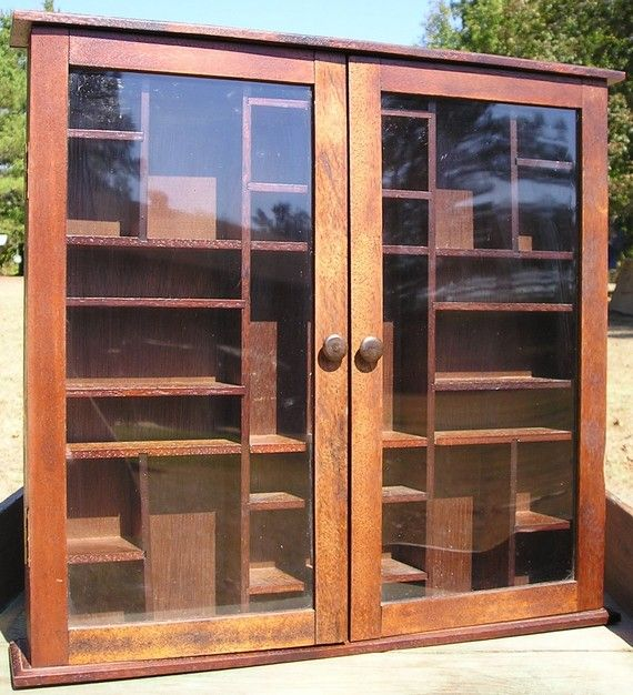 Wood Shadow Box Wooden Display Case Curio Curiosities Craft Show Cabinet with Glass Look Doors for Miniatures Small Things Curiosity Cabinet Bungalow Cottage Style