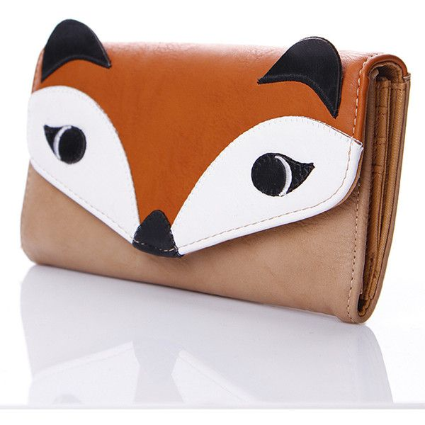 Liquorish Beige Fox Purse ($35) ❤ liked on Polyvore featuring bags, wallets, fox bags, fox wallet, flap bag, beige bag and flap wallet