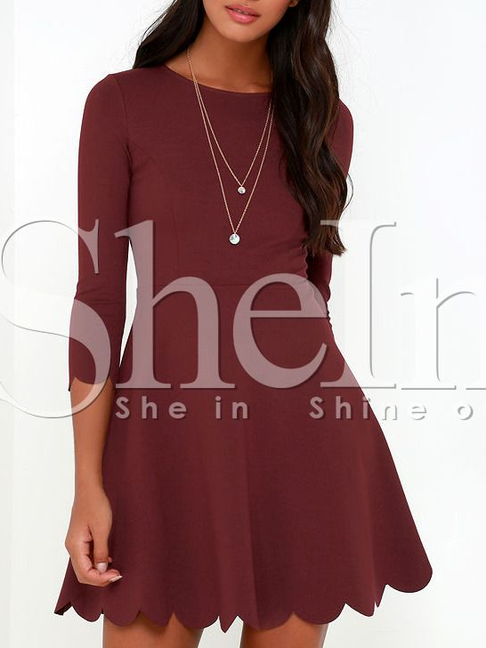 Wine Red Round Neck Ruffle Dress #PartyDresses #Dresses