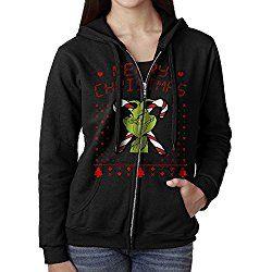 SNGB NJ Hoodie Sweatshirt Women's The Grinch Dr Seuss Ugly Christmas Long Sleeve Zip-up Hooded Sweatshirt Jacket Black