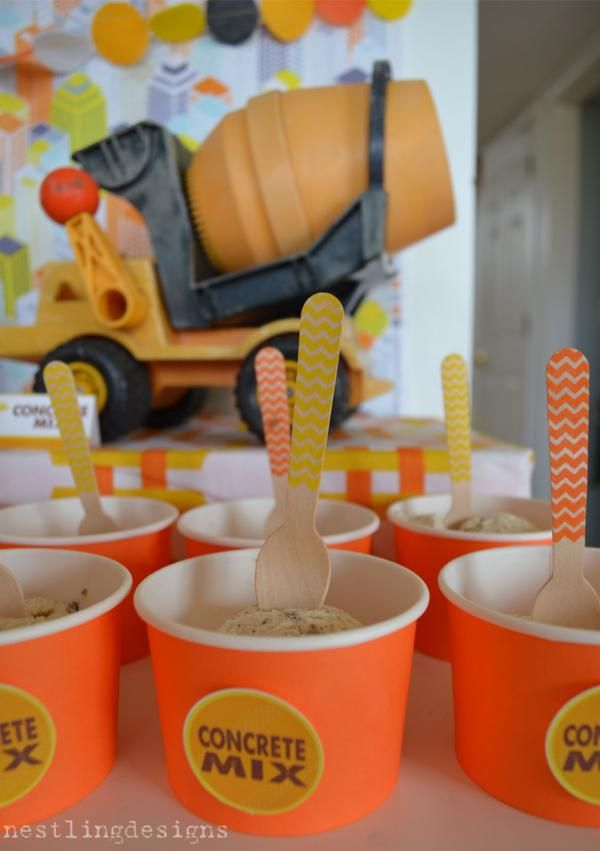 "Ice cream as ""concrete mix"" at a cute boy themed birthday party!"