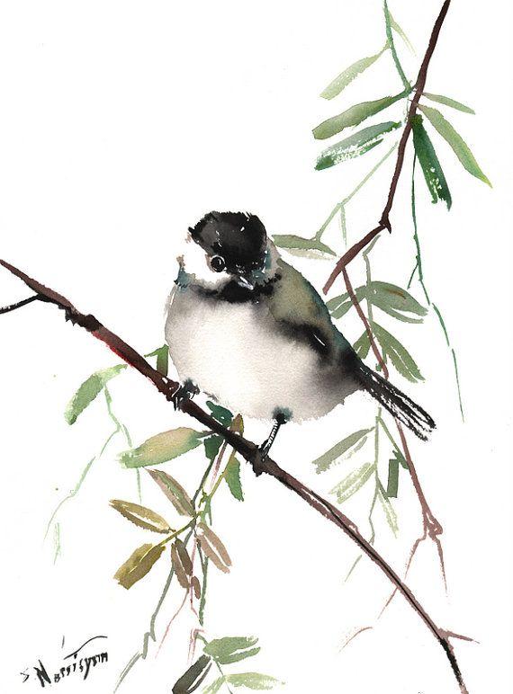 Mésange, aquarelle originale, peinture, 12 X 9 in, art amoureux oiseaux, sticker Mésange, peinture