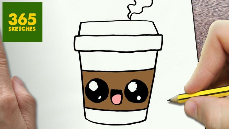 HOW TO DRAW A COFFEE CUTE, Easy step by step drawing lessons for ...