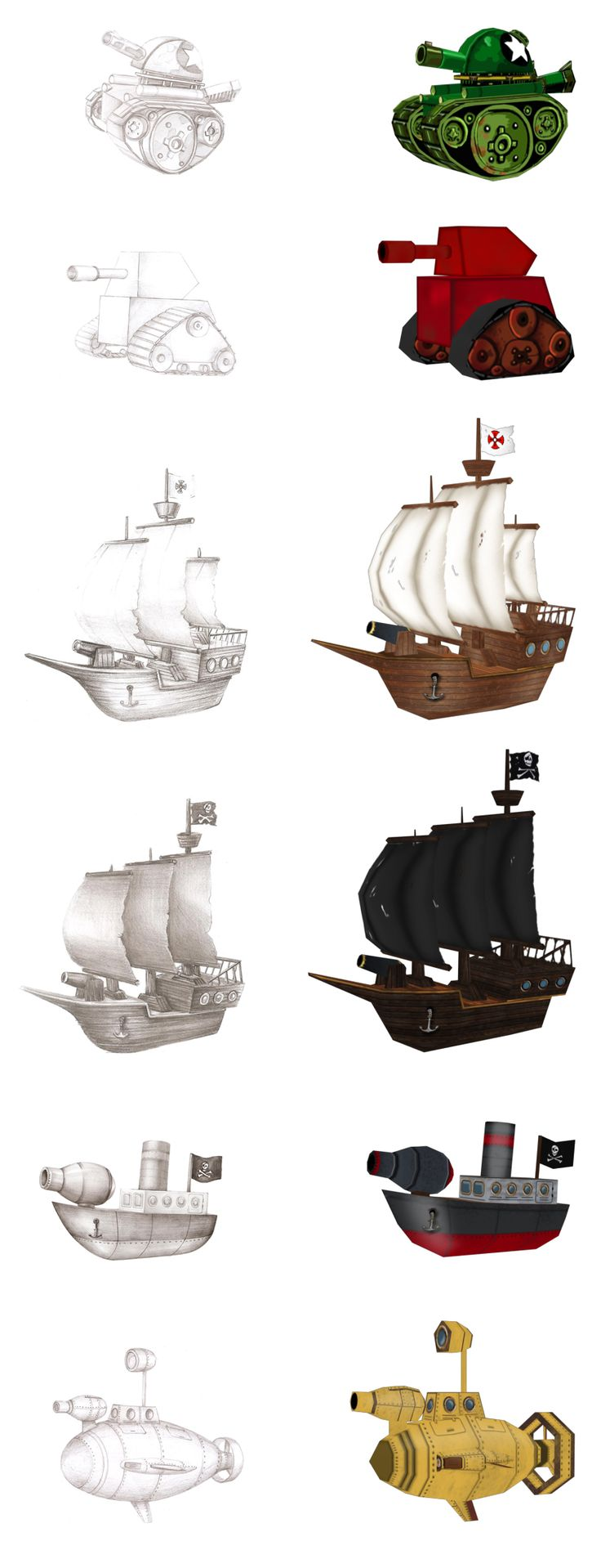 Creating a low-poly 3D models for online games. We decided to show you the process of creating sketches and the final 3D models of objects. You can see here models of tanks, ships, boat with a gun and a yellow submarine http://artforgame.com/