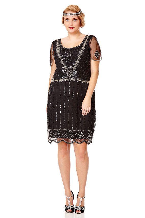 US20 UK24 AUS24 EU52 Eva Black Plus size Dress Vintage inspired 1920s Flapper Great Gatsby Downton Abbey Bridesmaid Art Deco Speakeasy Dress