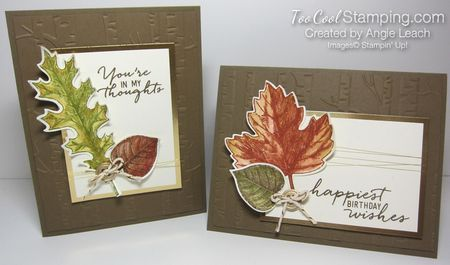 Easy Watercolored Vintage Leaves Cards. autumn, leaves, gold, watercolor wishes, Stampin' Up!  #toocoolstamping