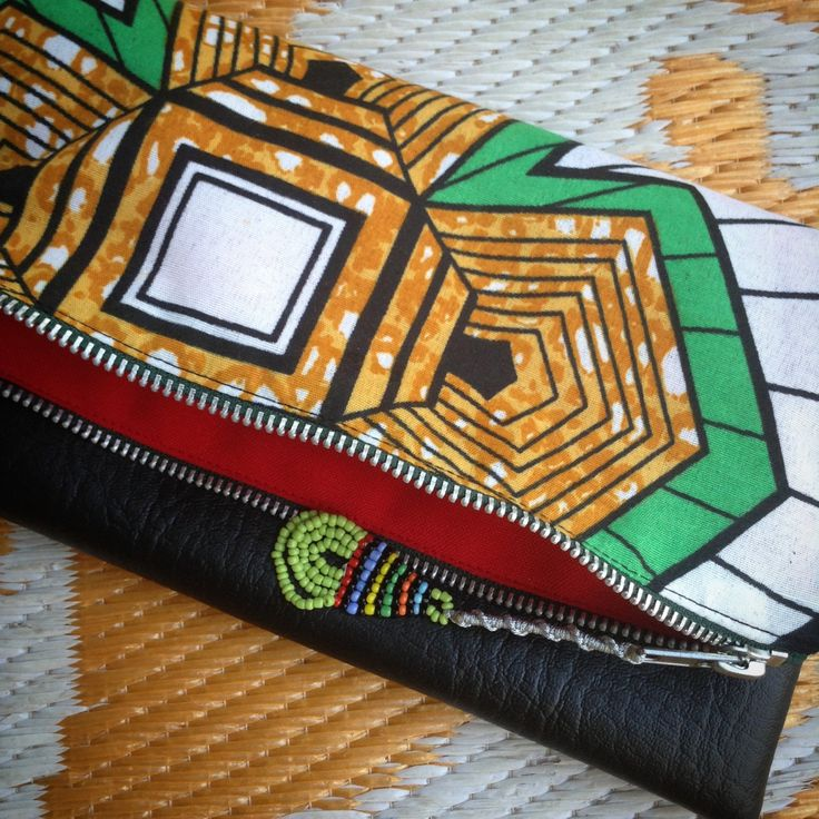 Fold Over Clutch Bag 'Flake 15' African Wax Print with Black Faux Leather Trim - 2015 Range (FLBL3) by ChangNoii on Etsy