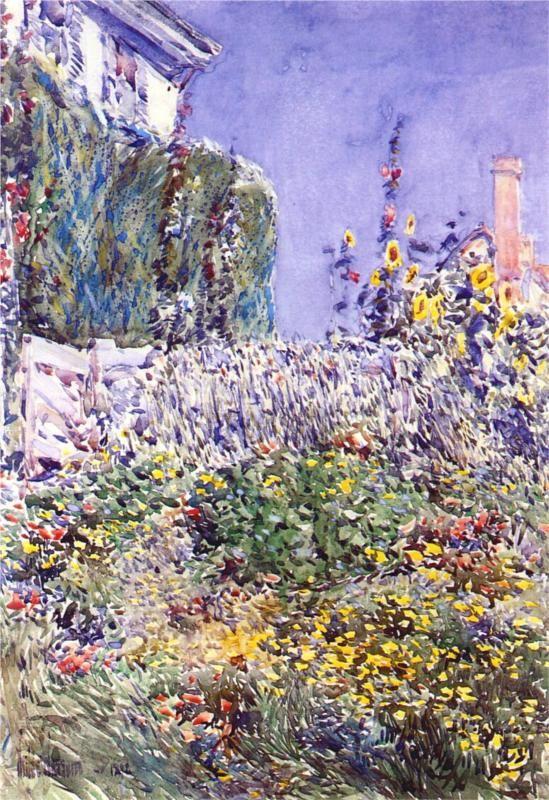 Childe Hassam (American 1859–1935) [American Impressionism, The Ten] Dexter`s Garden, 1892.