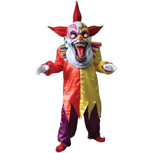 Adult Evil Clown Costume Scary Clown Full Suite With Oversized Mask And Hands    #Generic
