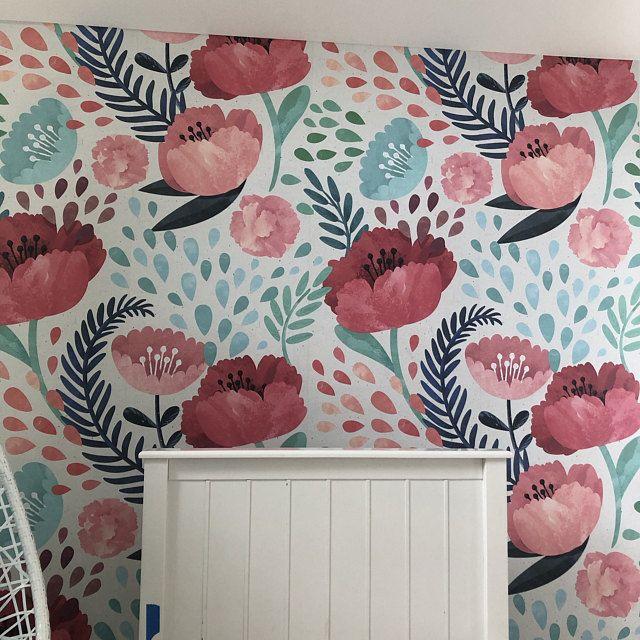 Dark Floral Mural Floral Wallpaper Dark Flowers Peony Etsy Floral Wallpaper How To Hang Wallpaper Peony Wallpaper