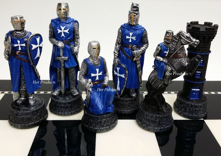 Medieval Times Crusades Warrior Red Blue Chess Men Set The Crusade No Board