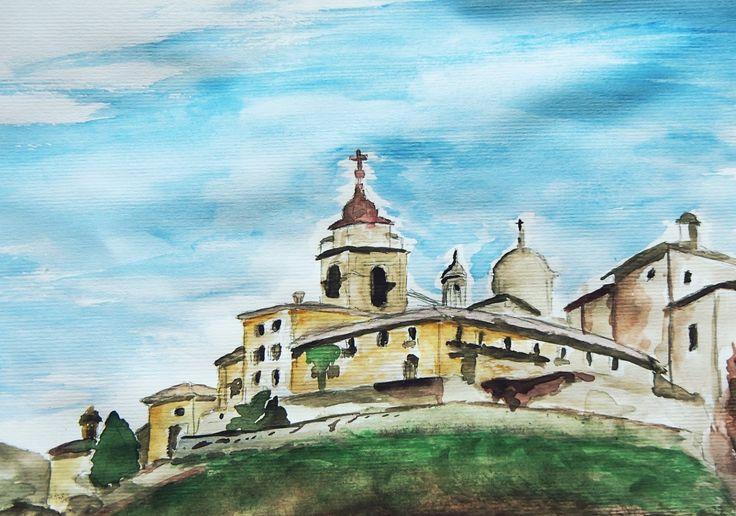 #sacrimontisocial #sacromonte #varallo #veduta #dipinto #acquarello Dipinto ad acquarello: veduta sacro Monte di Varallo UNESCO