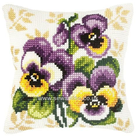 Pansy Cushion Front Chunky Cross Stitch Kit