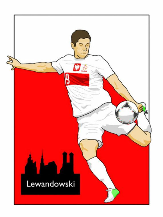 This listing is for a 16 x 12 print of my Robert Lewandowski Poland artwork. Printed on a quality matt photo paper, this is perfect for framing.