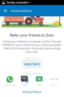 Zoto app giving free N1000 on any recharge  Hope we remembered zoto app? Which gives free N1000 on any recharge. The good news is that it is back Why should I use this application? >>You can earn up to N5000 or more >>You can get discounts and 50% cash back when you recharge with the app >>Invite a friend and earn N1000 on your friend first recharge >>You can earn N1000 on your first recharge >>Invite upto 50 friends! >>You can view your earn cash and use them to recharge or buy data…