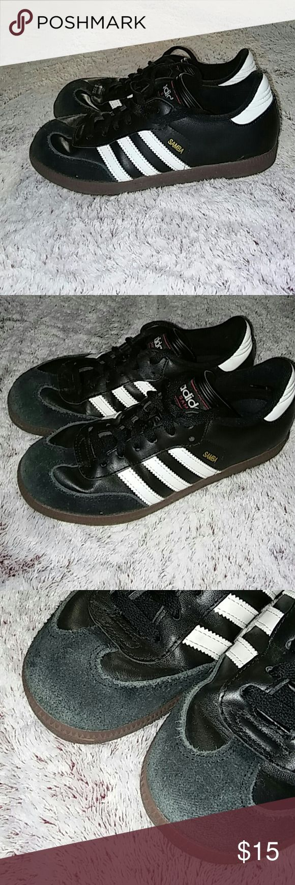 Adidas Samba Shoes, 5.5Y Adidas Samba Shoes Size: 5.5 YOUTH Indoor soccer shoes worn for 7 games! Bottoms are in great condition because they were only worn on the indoor turf! Ends of shoes show the most wear, but still have many more uses! adidas Shoes Athletic Shoes
