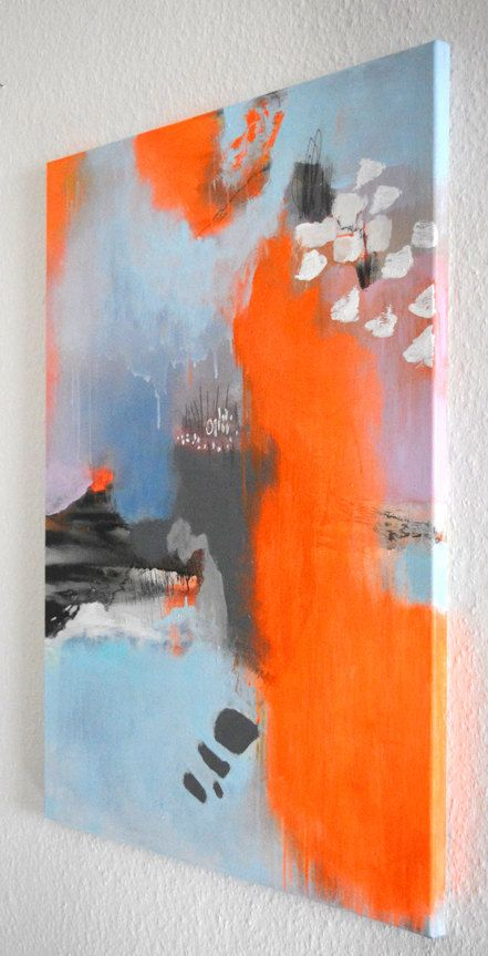 Original abstract painting on stretched canvas, abstract art, neon orange acrylic painting, modern wall art, ready to hang, wall decoration – Steffi Spilles