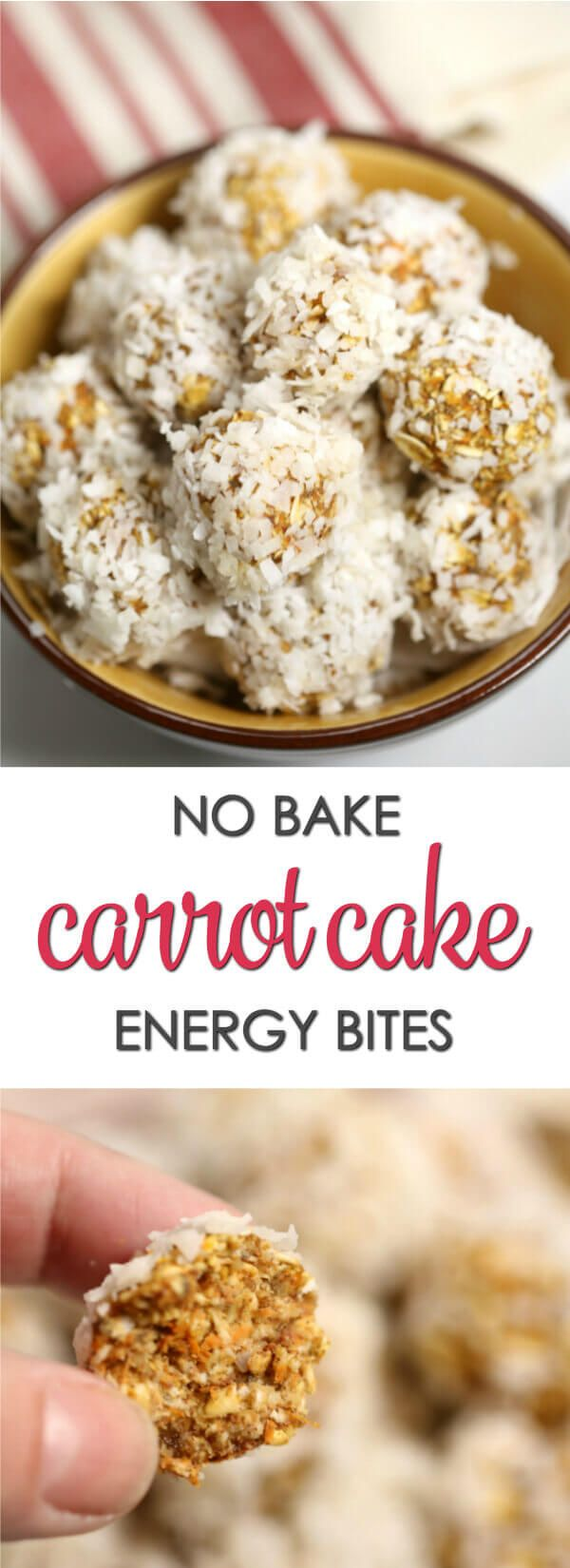 These No Bake Carrot Cake Energy Bites are a delicious and wholesome snack that are sure to satisfy your sweet tooth.  They're packed with good for you ingredients that will keep your energy levels up. #CarrotCake #HealthyRecipe #EasyRecipe