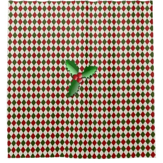 Red And Green Argyle Holly Berries Shower Curtain