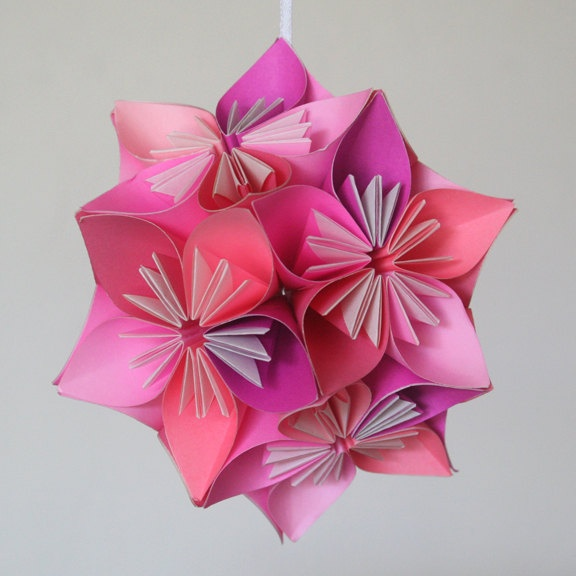 small pink kusudama origami flower ball 4000 via etsy