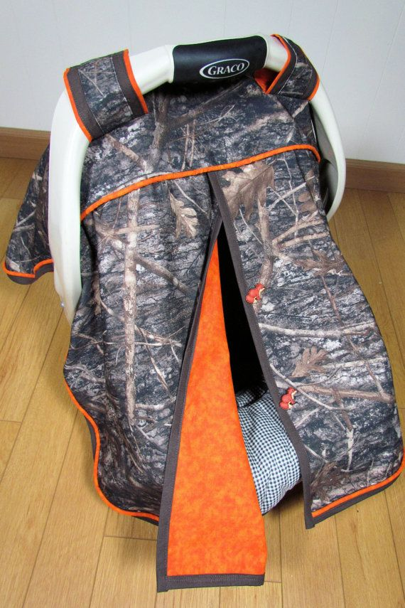 True Timber Camo with Orange Trim Baby Boy Car Seat Blanket Canopy / Car Seat Cover / Car Seat Blanket Tent