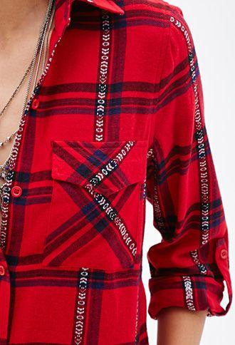 Plaid Button-Down Shirt | FOREVER21 - 2049258677