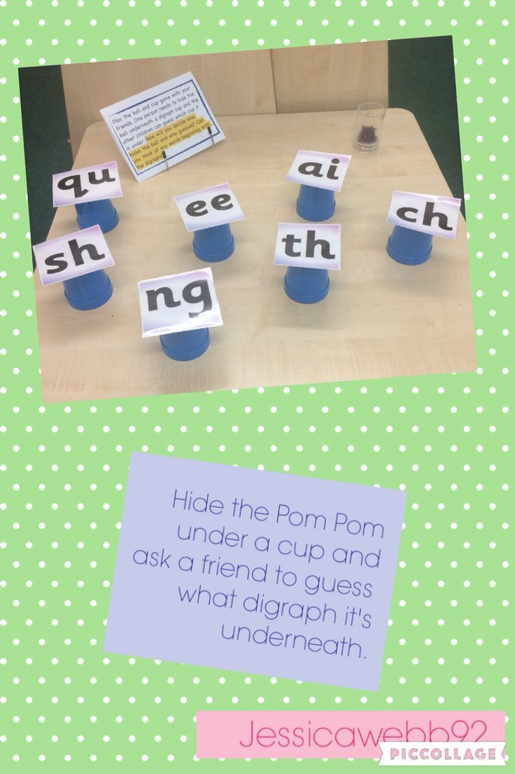 Hide a Pom Pom under a cup and guess which digraph it is under. EYFS