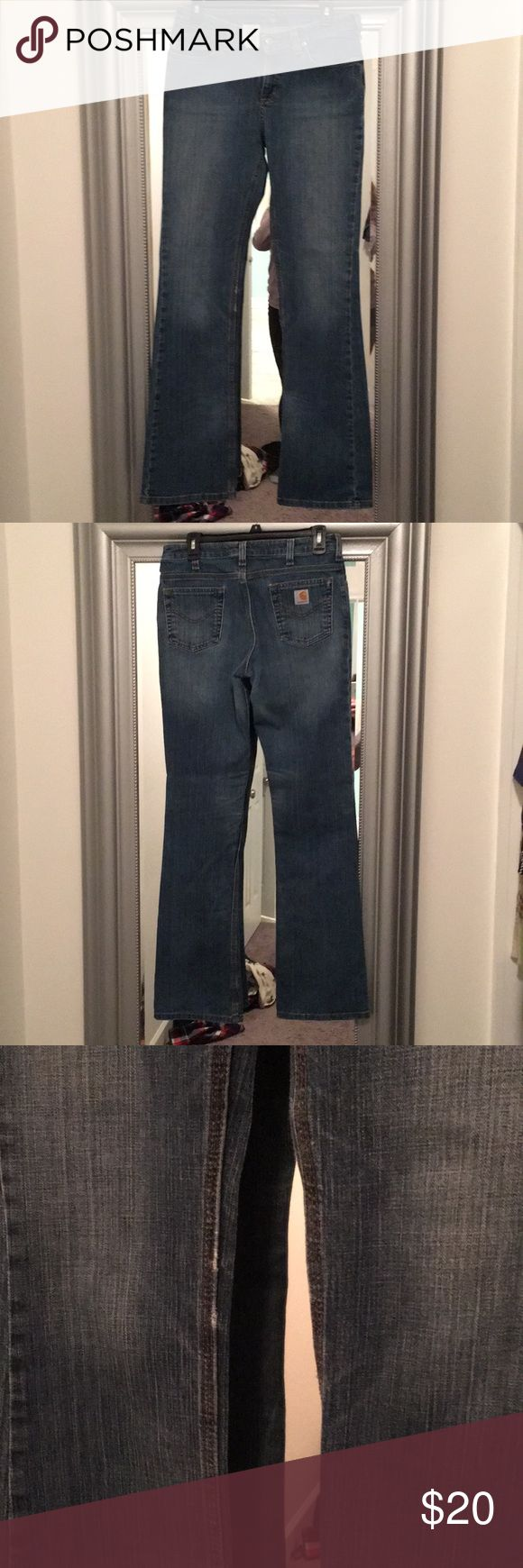 Carhartt boot cut jeans Boot cut carhartt jeans size 6x34. No stains but does have some wearing along inside seam. 8/10 Carhartt Jeans Boot Cut