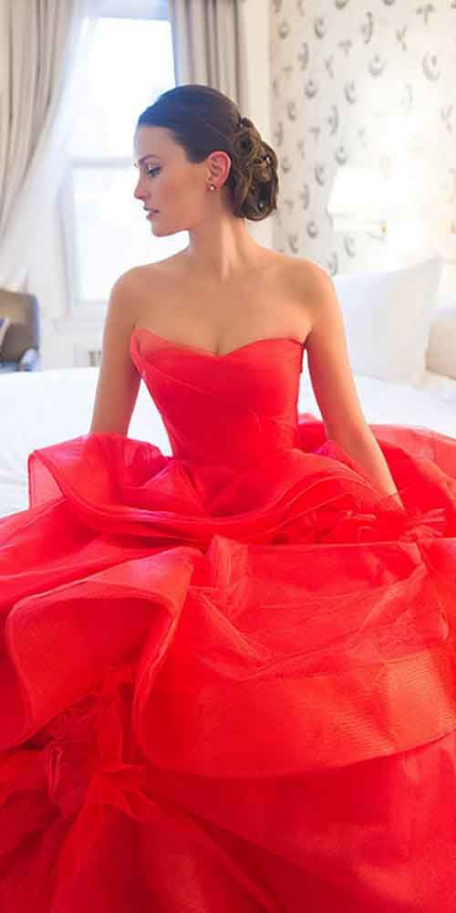 18 Colorful Wedding Dresses For Non-Traditional Bride ❤ See more: http://www.weddingforward.com/colourful-wedding-dresses/