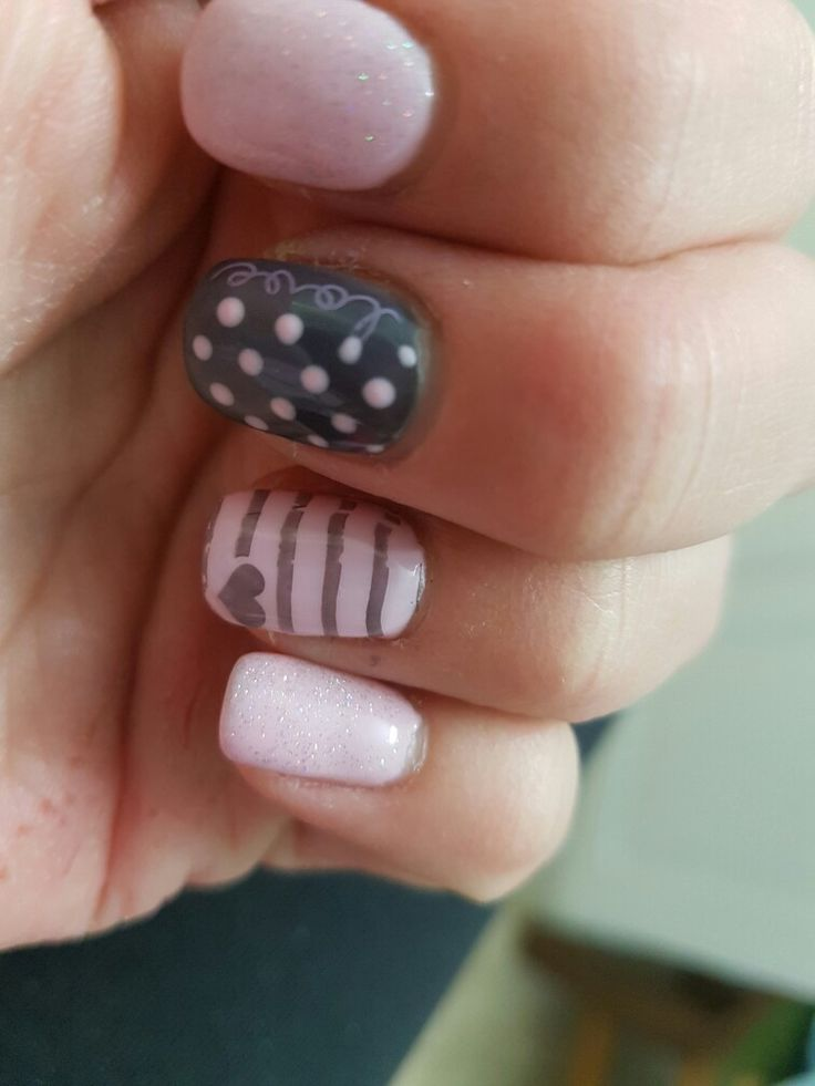 Pink sparkle with some grey & polka-dot love and stripes with a heart!