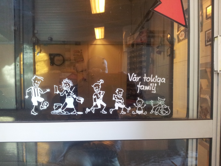 Spotted at a car wash in Sweden.  Funky Family Car Stickers