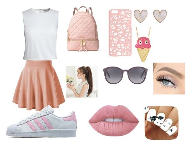 """""""PINK"""" by cocoblair25 on Polyvore featuring Canvas by Lands' End, adidas Originals, MICHAEL Michael Kors, Miss Selfridge, Yves Saint Laurent, New Look, Gab+Cos Designs and Lime Crime"""