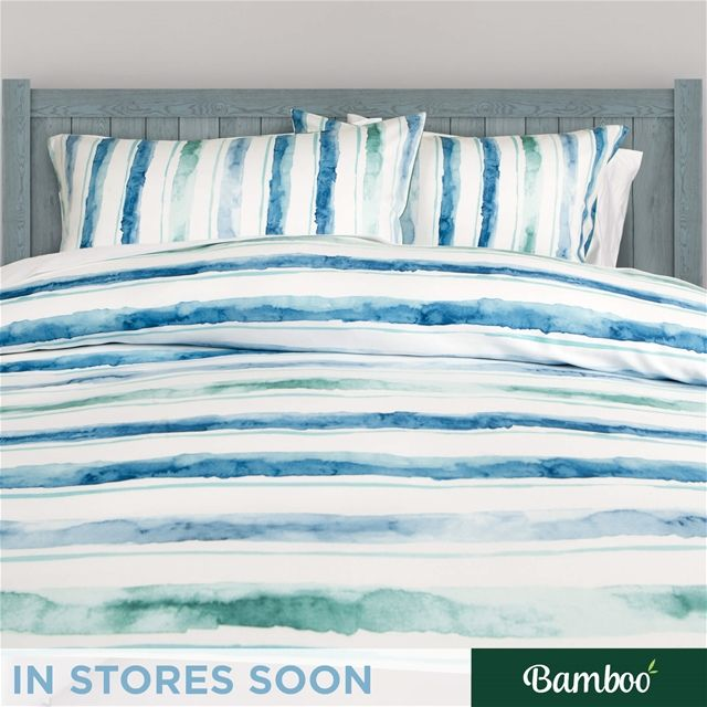 Horizon Bamboo Cotton Duvet Cover Set | QE Home | peaceful, aquatic, hand-painted watercolour bands spreading pensively on a white surface will help any room become more Zen.