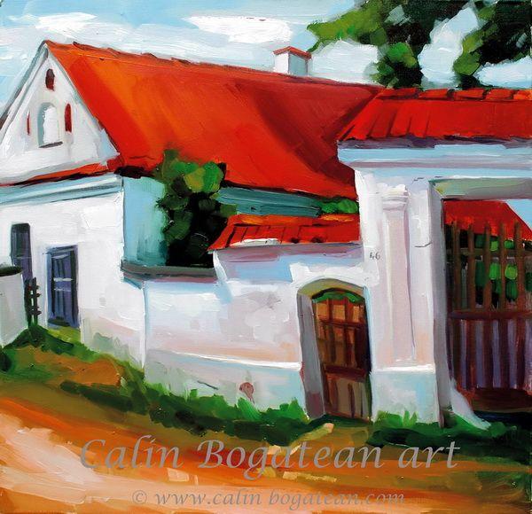 Satul mureșean poartă peisaj în ulei pictură pe pânză peisagistică realistă hiperrealistă pe pânză picturi executate de pictorul comtemporan Călin Bogătean membru al Uniunii Artistilor Profesionisti din Romania. Peisaj  țărănesc original unicat Satul mureșean poartă țărănească
