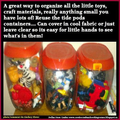 Dollar Store Crafter: Turn Empty Tide Pod Containers Into Storage Or 'the junk drawer' Containers