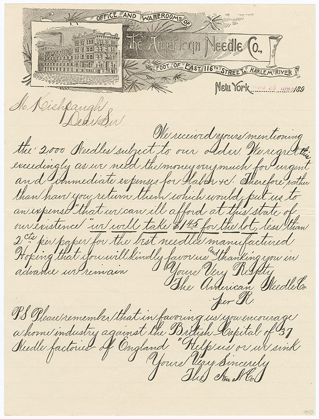 1890s handwritten letter on american needle co stationery situated at the foot of