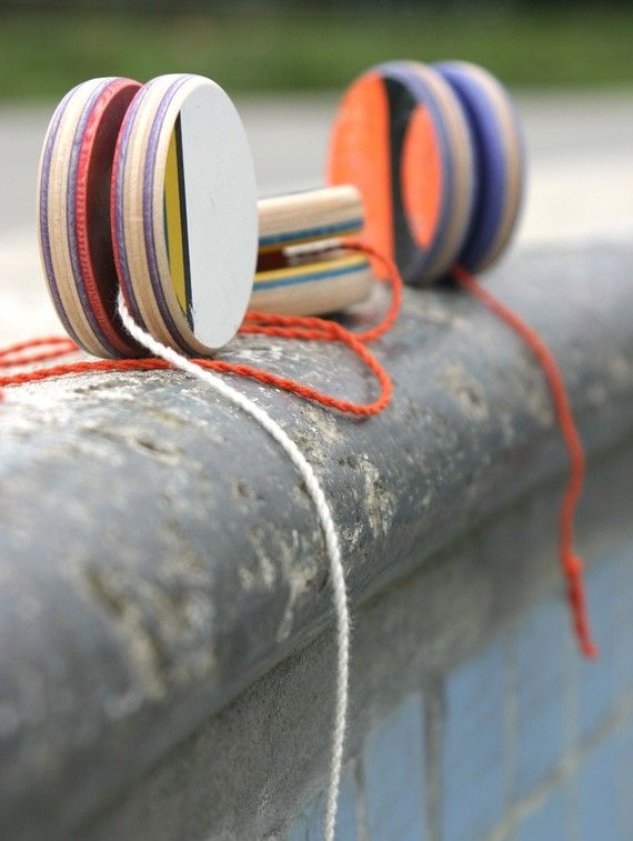 These are cool looking yo-yos made from used skateboard decks. I'd love to track one down locally.