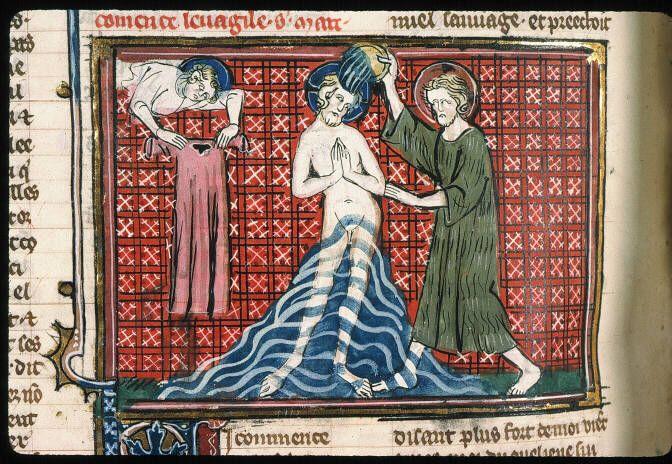 baptême du christ, Paris, Bibl. Sainte-Geneviève, ms. 0021 ...