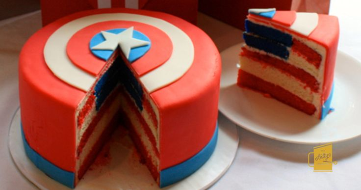 Extra! Extra! Read All About It! Our tribute Captain America shield cake while not indestructible is deliciously edible! A cross-section of the shield's interior yield's Old Glory herself, making each flagged bite a true slice of America. See more! http://thebittybakeshop.com/project/captain-america/