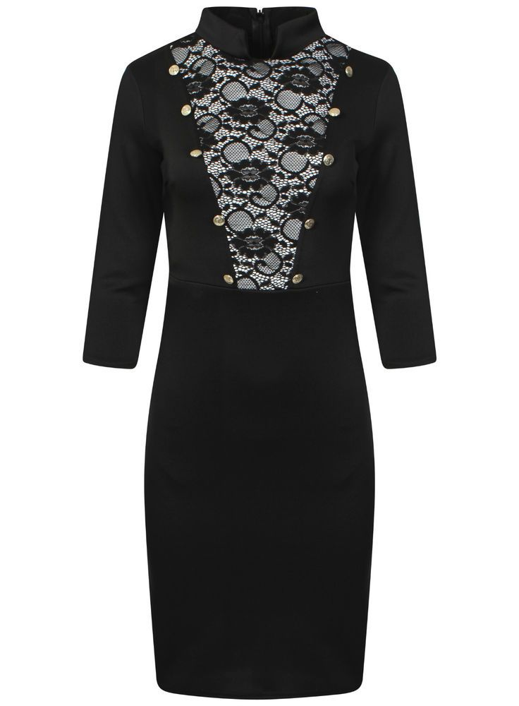 New Ladies Women Lace Insert Turtle Neck Long Sleeves Bodycon Midi Dress UK 8-14