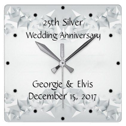 Silver Geometric 25th Wedding Anniversary Square Wall Clock