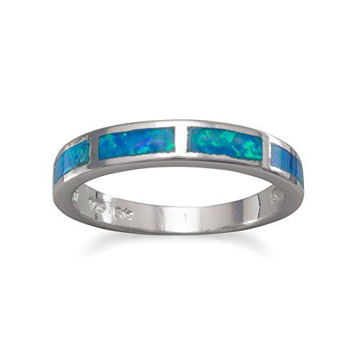 Sterling Silver Polished Blue Enamel Ring - Ring Size Options Range: L to N mPXPZ4WM