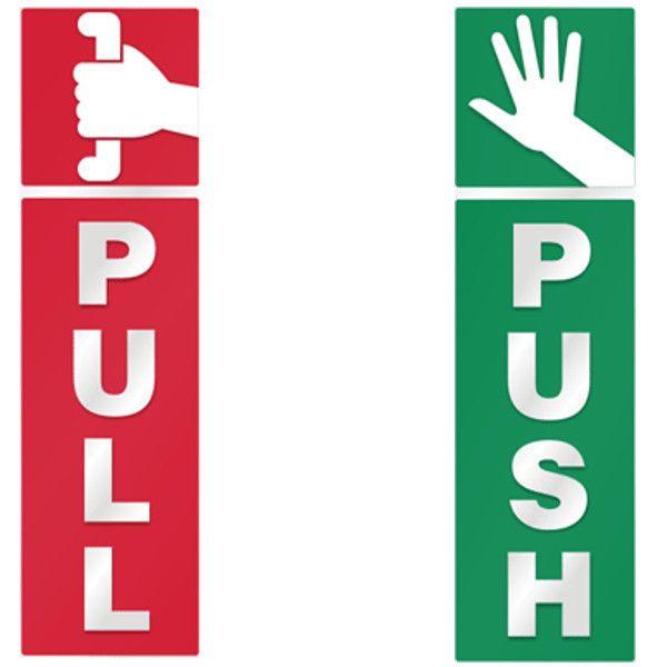 Push and Pull Door Window 2 Option Vinyl Decal Information Warning Note Sticker