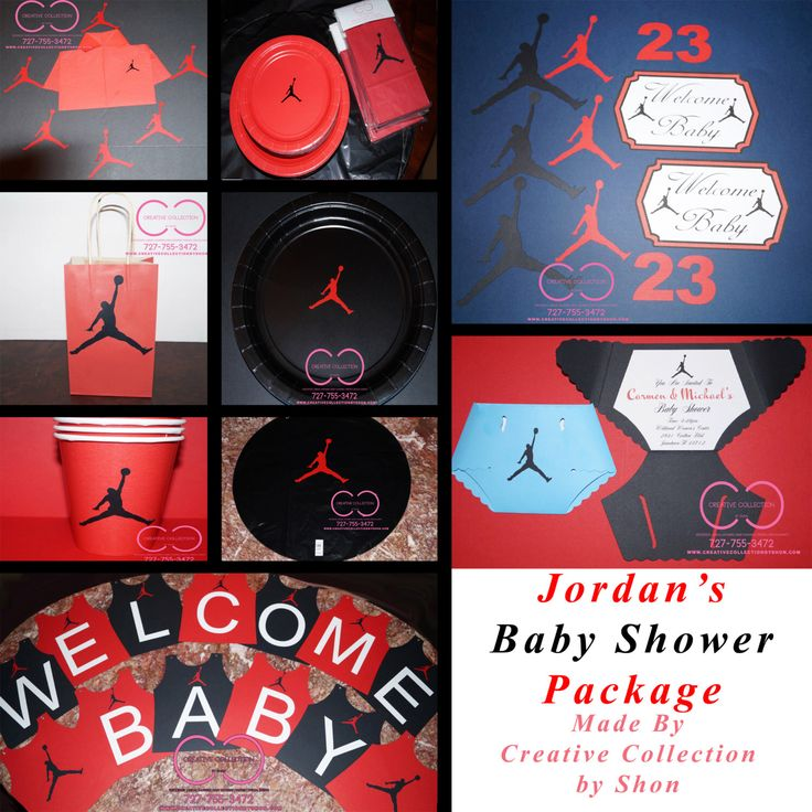 """Jumpman """"Jordan"""" Inspired Baby Shower Package by ccbyshon on Etsy https://www.etsy.com/listing/241564965/jumpman-jordan-inspired-baby-shower"""