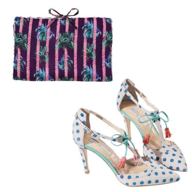 A pois et à fleurs Chaussures Boden en daim 159€  www.boden.fr  Pochette Thomsen pour Monoprix en coton 20€  courses.monoprix.fr