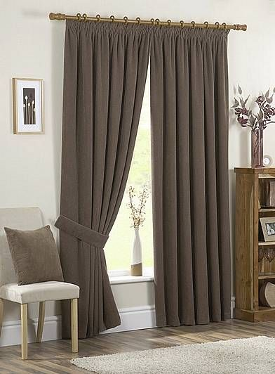 Chenille Spot Chocolate Ready Made Curtains