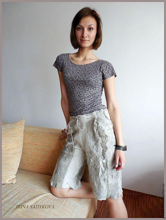"""Шорты валяные """"На Крит!"""" - хаки,шорты,шелк,шерсть,летние,эластичные,шелк натуральный"""