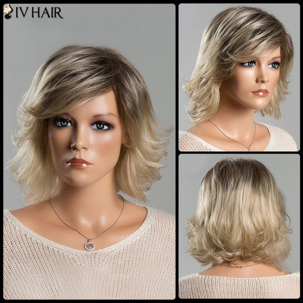 Short Fluffy Tail Upwards Fashion Mixed Color Women's Side Bang Siv Human Hair Wig #>=#>=#>=#>=#> Click on the pin to check out discount price, color, size, shipping, etc. Save and like it!