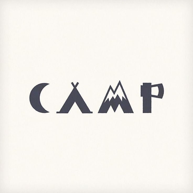 "#expressivetype by Seiji Matsumoto via Instagram; each letter of the word ""camp"" uses an illustration that is associated with the word itself. The simplicity of each letter makes them look like icons."