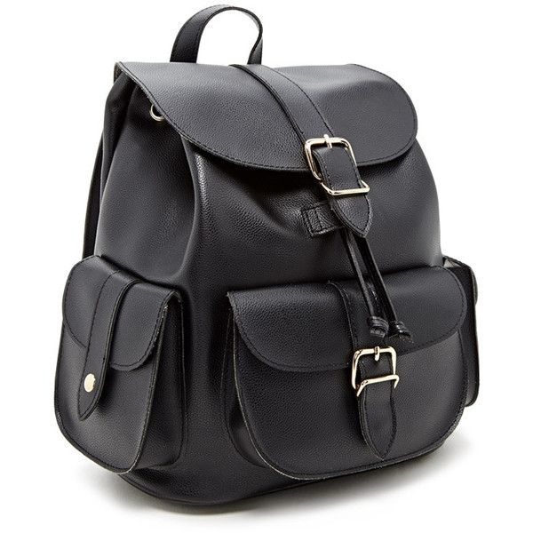 Forever21 Faux Leather Backpack ($28) ❤ liked on Polyvore featuring bags, backpacks, flap backpack, vegan leather backpack, draw string bag, forever 21 backpacks and buckle flap backpack